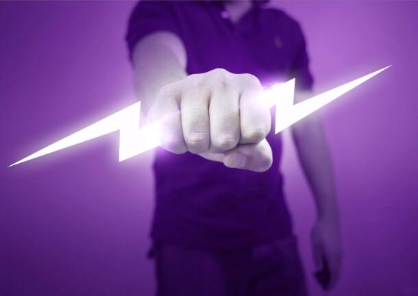 handing holding lightning bolt