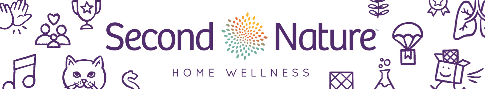 Second Nature logo centered among home wellness items