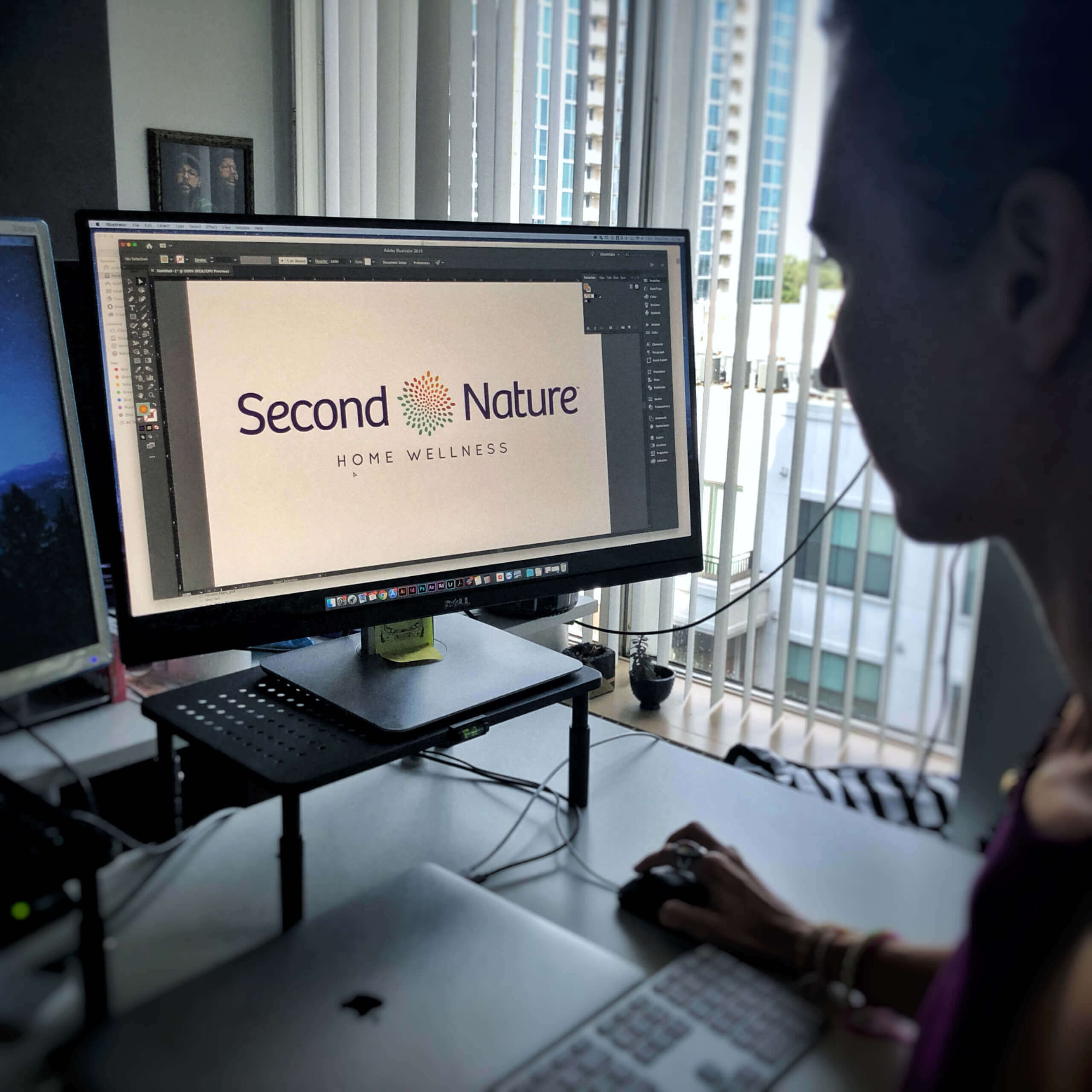 Second Nature logo being designed